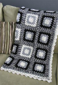 crochet blanket black white grey granny square