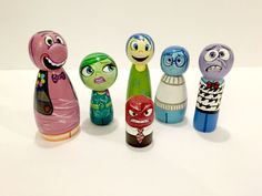 Disney Pixar Inside Out Wood Peg Dolls by ChubbyBunnyPegs on Etsy