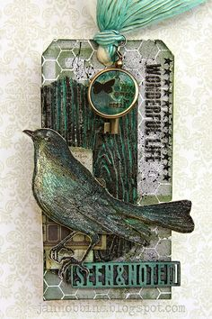 Seen Noted Tag - Jan Hobbins Sizzix Armour Shield, Woodgrain Texture Fade Inspiration from Tim Holtz January 12 tags of 2014 by claudette Atc Cards, Bird Cards, Card Tags, Gift Tags, Love Tag, Handmade Tags, Paper Tags, Vintage Tags, Artist Trading Cards