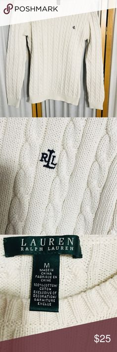 404e2828d4c Ralph Laurn cable knit sweater. Beige cable knit sweater that has been used  a handful