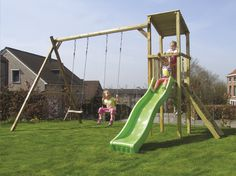 Met deze Diest-schommel met appelgroene glijbaan in de tuin kunnen kinderen zich volop uitleven. Veel speelplezier aan een interessante prijs!