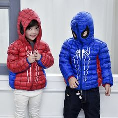 (28.55$)  Buy here - http://ai7vo.worlditems.win/all/product.php?id=32740954185 - 2016 Autumn Winter Children Down Jacket Fashion Hooded Short Coat Spiderman Thin Girl Down Coat And Jacket Boy Red Blue
