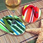 The unique design of these fun and practical flip flop coasters mixes form and function with a burst of sunshine. Flip flop coasters attach to the foot of your glass. Perfect as beach wedding favors or gifts for your bridal party. Beach Wedding Favors, Summer Wedding, Wedding Ideas, Wedding Stuff, Wedding Decor, Dream Wedding, Flip Flop Craft, Flip Flop Wreaths, Cool Stuff