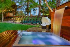 Stainless Steel Custom Spa With Bench Seating, A Lounger, LED Lighting And  Water Spout