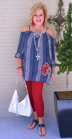 50 IS NOT OLD | COLD SHOULDER, STRIPES, AND EMBROIDERY | Summer Outfit | Red, white, and blue | Fashion over 40 for the everyday woman