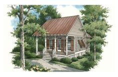 This 569 square feet cottage style 1 bedroom, 1 bath with 0 garage stalls falls in the 0-1000 square feet range. It also combines elements from the country style.    The floor plan features open floor plan, main floor bed & bath, empty-nester, suited for narrow lot, suited for corner lot, walk-in closet, nook/breakfast area/dining, covered front porch.