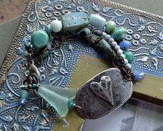 Multiple strand bracelet, Heart cuff bracelet, Light blue, mint, Rustic boho, Summer, Eclectic jewelry, Sweetheart bracelet, Bohemian, Love  Totally