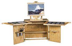 Art Desks, Taboret Furniture, Furniture for Art Studio at Madison Art Shop Woodworking Plans, Woodworking Projects, Art Studio Design, Studio Desk, Art Easel, Simple Desk, Open Art, Art Desk, Furniture Design