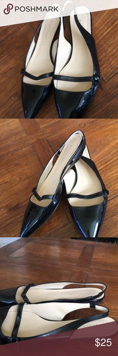 ❤ Cute Trendy Pierre Darre Black sling backs ❤These are really cute 💝 a shoe wardrobe must have black Patent leather pointy toe sling backs low heeled flats ❤got to have a little black shoe Shoes Flats & Loafers