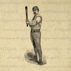 Printable Graphic Antique Baseball Player Image Sports
