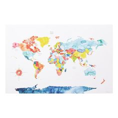 World Map Wall Art, Travel Gift, Watercolor Art Print, Meera Lee Patel World Map Painting, World Map Wall Art, Painting Art, Paintings, World Map Wallpaper, Wallpaper Gallery, Water Color World Map, Watercolor Map, So Little Time