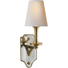 Visual Comfort Thomas O'Brien Verona Mirrored Sconce in Hand-Rubbed Antique Brass with Natural Paper Shade TOB2330HAB-NP | 15 3/4H x 5 1/2W $398.90