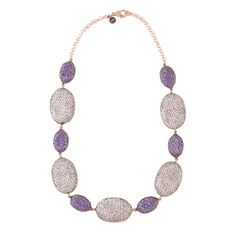 Coco oval necklace white & amethyst cz in bronze with rose gold plating