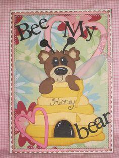 Handmade 5X7 Valentine's Day Card KaDoodle Bug Designs honey bee bear pattern