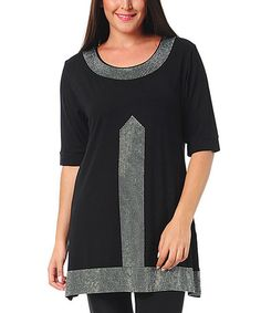 Another great find on #zulily! Black Embellished Tunic - Plus #zulilyfinds