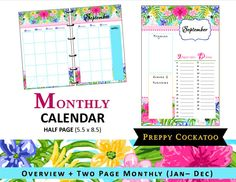 Hey, I found this really awesome Etsy listing at https://www.etsy.com/listing/239920443/lilly-inspired-monthly-calendar-planner