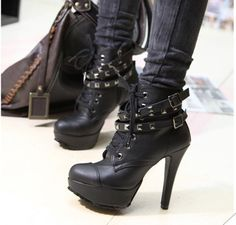 2012 platform motorcycle boots lacing rivet platform boots female ankle boots-in Boots from Shoes on Aliexpress.com