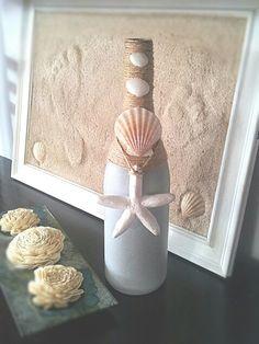 Repurposed wine bottle. Spray painted, twine, shells and salt dough starfish
