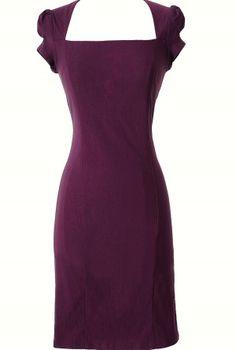 Square Neck Modest Pencil Dress in Purple  www.lilyboutique.com