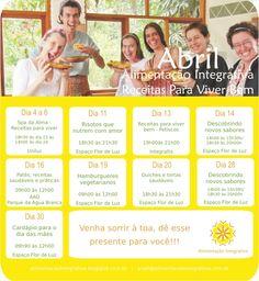 Alimentação Integrativa - Receitas para Viver Bem: AGENDA - ABRIL