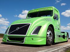 GREEN: Volvo Hybrid Truck Breaks Speed Records In Utah Testing 'Mean Green' semi hauler with special aerodynamic body and gas/electric powerplant hits 147 mph . Big Rig Trucks, Semi Trucks, Hybrid Trucks, Used Car Prices, Car Camper, Campers, Mean Green, Volvo Trucks, Autos