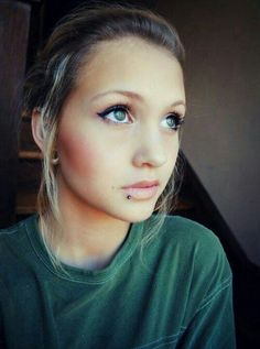 Lip piercing - exact placement i want..plus i love her simple natural beauty...what I'm going for