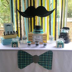 Dessert table at a little man mustache baby shower party! Lil Man Baby Shower, Boy Baby Shower Themes, Baby Shower Favors, Shower Party, Baby Shower Games, Baby Shower Parties, Little Man Party, Little Man Birthday, Baby Birthday