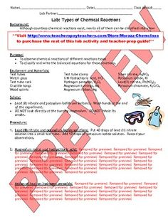 $3.99 Need a cool lab activity for tomorrow?!  Try this!: Types of Chemical Reactions  Enjoy! TeachersPayTeachers (TpT)