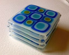 Fused glass coasters  Blue Turquoise X 4 by Glassprimitif on Etsy, $40.00