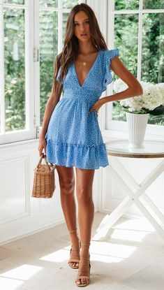 Floral Chiffon Boho Deep V Neck Backless Dress Short Vintage Flower Prints Evening Gowns Bridesmaid Summer Beach Mini Dress Woman Spaghetti Strap Cross Floral Chiffon Boho Deep V Neck Backless Dress Short Vintage Flower Pr – Center Of Treasures Blue Dress Casual, Casual Summer Dresses, Summer Dresses For Women, Summer Beach Dresses, Spring Dresses, Summer Fashions, Dress For Beach, Blue Dress Outfits, Casual Outfits