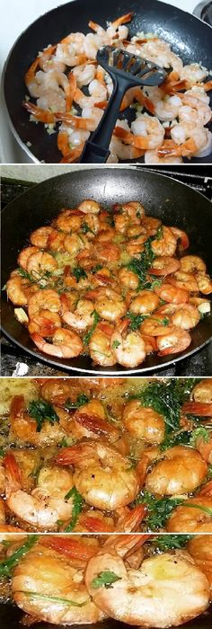 garlic shrimp: kilo of peeled tail-on shrimp 40 grams butter 5 cloves of garlic minced fine 1 t Worcestershire sauce 2 T lemon juice 1 splash white wine Salt and pepper, to taste Fish Recipes, Seafood Recipes, Mexican Food Recipes, Dinner Recipes, Cooking Recipes, Healthy Recipes, Cuisine Diverse, Seafood Dishes, Love Food