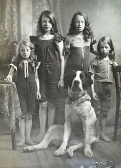 Dog Portraiture / Daughters of Kilmarnock /Postcard, Scotland / Analog pet photography / chien / fillette / Dog and their Humans Vintage Children Photos, Vintage Pictures, Old Pictures, Vintage Images, Antique Photos, Vintage Photographs, Portraits Victoriens, Old Dogs, Bffs