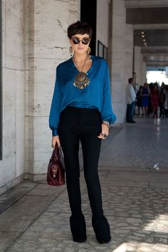 KELLY FRAMEL  Fashion Designer / Blogger  http://www.theglamourai.com  -Chloé Blouse  -Miu Miu Pants  -Prada Boots  -Follis Bag  -Kelly Framel Necklace