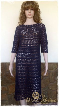 Items similar to Ladies blue crochet dress / custom on Etsy Hairpin Lace Patterns, Hair Pins, Dresses With Sleeves, Trending Outfits, Lady, Crochet, Long Sleeve, Unique, Blue