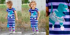 A super fun pleated dress with a happy dancing dinosaur on the front. Dina has ballet shoes...a sparkly pink tutu and a small button eye. Stripes on dress are navy blue and lavender...pleats and dinosaur are aqua green.