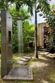 DIY / Outdoor Shower Design and build your own outdoor shower by Indeed Decor, curators of unique decor. Outdoor Baths, Outdoor Bathrooms, Outside Showers, Outdoor Showers, Garden Shower, Outdoor Living, Outdoor Decor, Outdoor Ideas, Outdoor Spaces