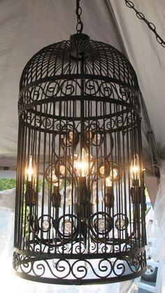 Black Iron Birdcage Chandelier Stunning by BeatriceroseCottage