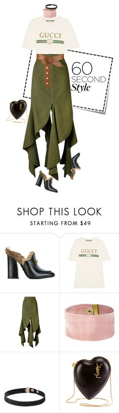 """""""lesgou"""" by nandusho ❤ liked on Polyvore featuring Post-It, Gucci, J.W. Anderson, Louis Vuitton, Yves Saint Laurent, asymmetricskirts and 60secondstyle"""