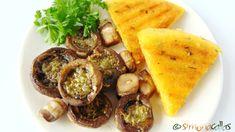 Mushrooms baked with garlic sauce and polenta roasted / Baked Mushrooms with Garlic Sauce and Grilled Polenta Baked Mushrooms, Stuffed Mushrooms, Grilled Polenta, Garlic Sauce, Hummus, Healthy Lifestyle, Grilling, Roast, Vegan Recipes
