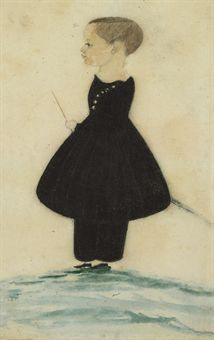 Attributed to Justus Dalee (Active 1826-1847) Miniature Portrait of a Child watercolor and pencil on paper 5 x 2¾ in.