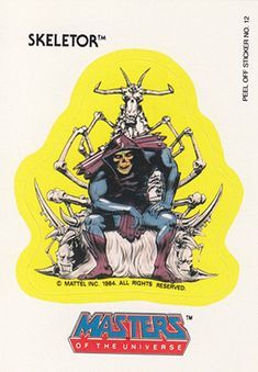 """A sticker-card featuring Skeletor on his ossiferous throne, from the TOPPS' 1984 """"Masters of the Universe"""" trading card collection"""