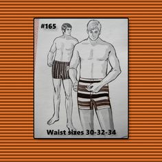 """Vintage 70's Mens Swim trunks Sewing pattern  Sew Knit Stretch #165 waist sizes 30-32-34""""- new old stock - unopened 1971 by BarbaraSculati on Etsy"""