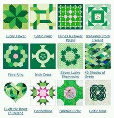 Irish quilt squares -- maybe the scallops for my kindle cover? Might be too difficult...