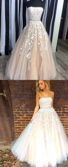 Strapless A-line Long Lace Appliques Long Prom Dress