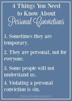 There are 4 things you need to know about personal convictions - Numbers 6