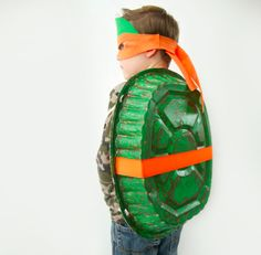 Cowabunga! This Teenage Mutant Ninja Turtle costume from requires no sewing. The turtle's back is an aluminum roasting pan. Get the entire supply list and how-tos at   Crafts by Courtney  .