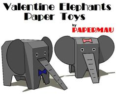 PAPERMAU: Valentine Elephants Paper Toys - by Papermau - Download Now!