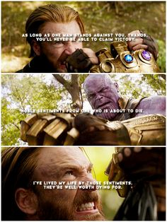 Then die you shall… #steve rogers #infinity war #thanos