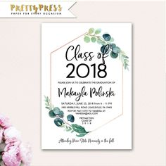 Class of 2018, Graduation Announcement, Senior Graduation Announcement Template, 2018 graduation FREE SHIPPING, Printable or Printed cards by prettypress on Etsy