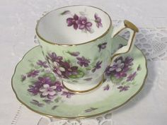 Items similar to Vintage Aynsley Violette Footed Demitasse Cup and Saucer, Made in England. Purple Violets with Green Band, Gold Trim on Etsy Antique Tea Cups, Antique Dishes, China Tea Sets, Vintage Tea, Vintage China, Chocolate Pots, Tea Accessories, China Patterns, Tea Cup Saucer